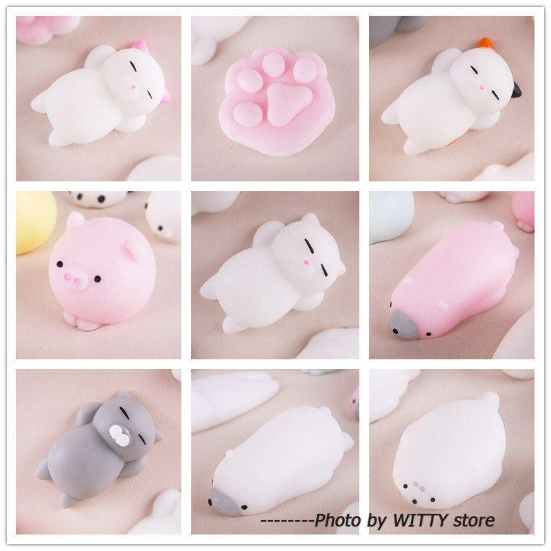 30pcs/lot Different Cute Squishy Toys Anti Stress Squishy Cat Squeeze Toy Soft Sticky Squishies Animal Fun Toys ...