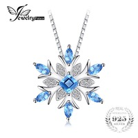 JewelryPalace Snowflake Genuine Swis Blue Topaz Solid 925 Sterling Silver Pendant Necklace 18 Inches Box Chain