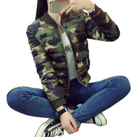 New Military Army Green Bomber Jacket Women 2017 Winter Floral Bomber Jacket Casual Camouflage Short Coats Large Size M XXXL