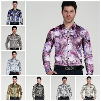 New Design Mens Printed Flower Formal Casual Shirts Slim Fit Groom/Groomsmen Satin Dress Shirt S17