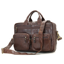 JMD Real Cow Leather Fashion Men's Brown Top Handle Laptop Bag Office Briefcase 7231Q