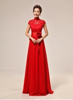 Hot 2015 New Arrival Chinese Style Red Evening Dress To Wedding Sexy Cheongsam High Quality Lace