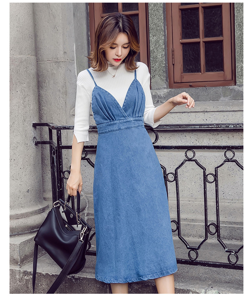 HTB1hCFhbFHM8KJjSZJiq6zx3FXae - HziriP 2018 New Arrival Women Denim Dress Fashion Casual Ankle-Length desses for Ladies Spaghetti Strap Bodycon Vestido Female