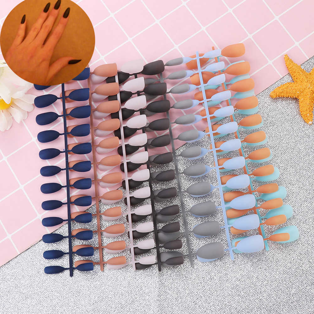 24Pcs/Sheet Matte False Nails  Pure Color Tips Patch Artificial Chip French Nail Art Extensions Accessories Fashion Accessorices