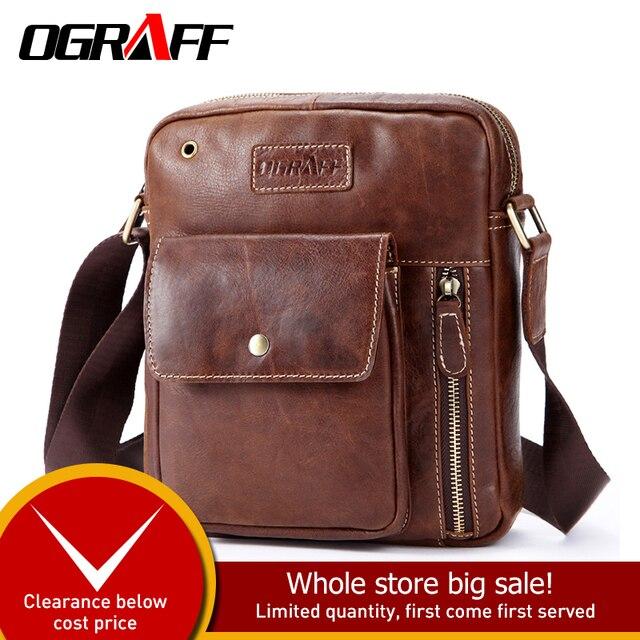 OGRAFF Men bag Shoulder Bags Genuine Leather Bags Male Small Shoulder Handbags 2018 Luxury Designer Men Messenger Bag Cross Body