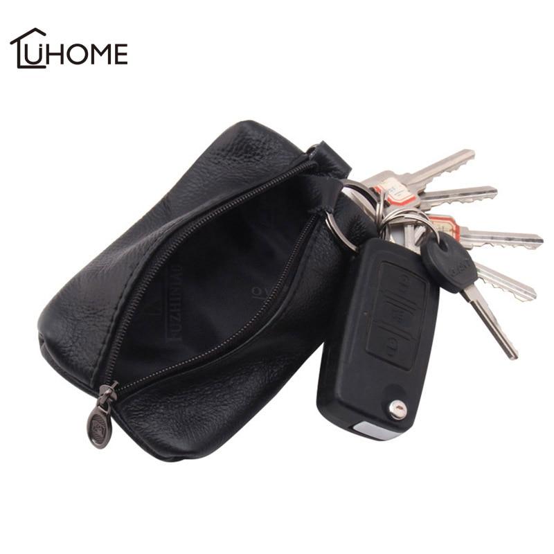 Leather Storage Bag Earphone Coin Car Key Holder Men Women Wallets Key Organizer Housekeeper Covers Zipper Bag Keychain Cover