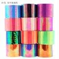 1 Roll/Color 5 cm * 1000 cm Láser Holográfico Adhesivo de Papel de Transferencia Nail Art Láminas de Cristal Del Clavo de DIY decoración Stencil Herramientas de Manicura