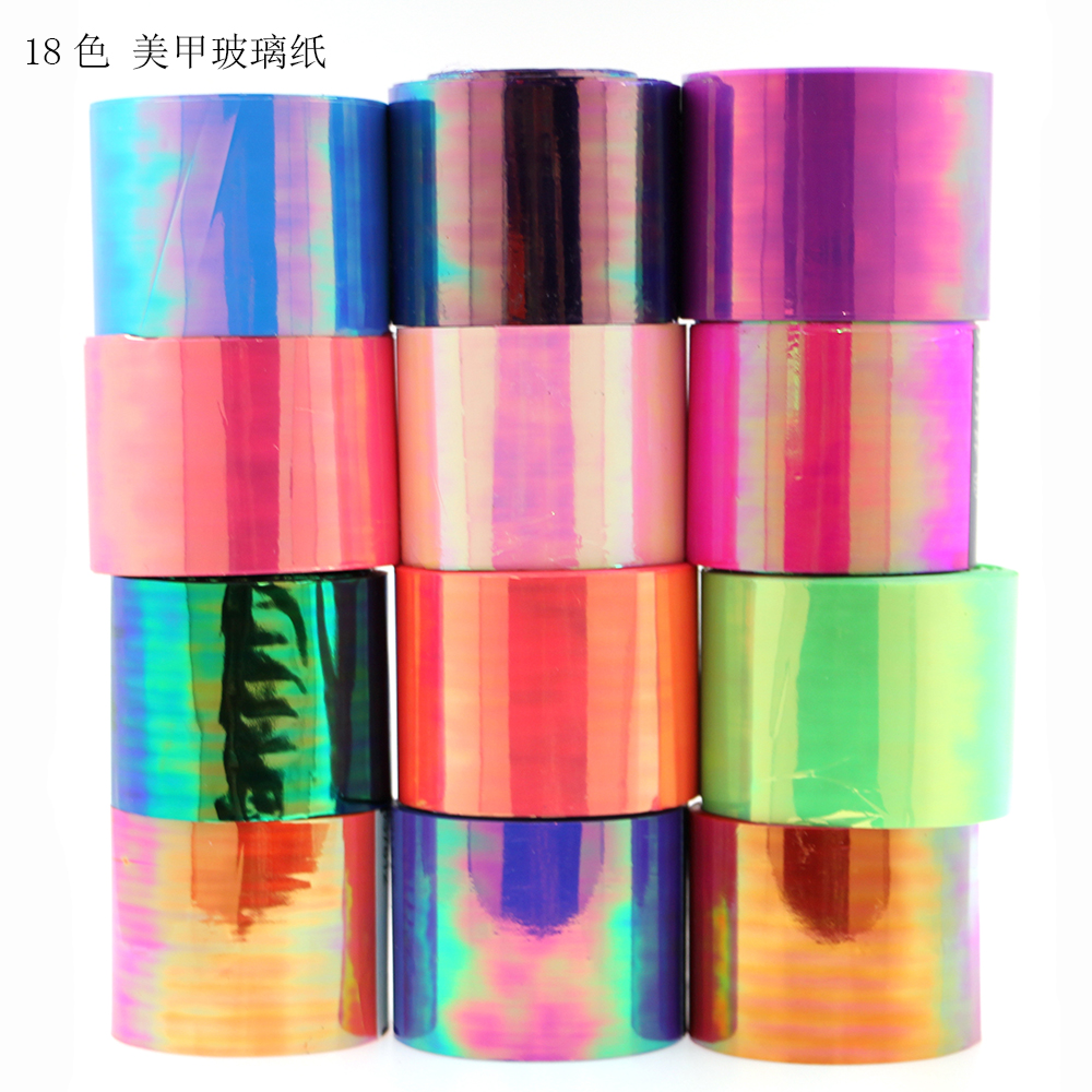 1Roll Multi 5cm*100m Holographic Laser Glass Foil Sticker Nail Art Decals DIY Beauty Decoration Stencil Manicure Tools Discount 3d 12 candy colors glass fragments shape nail art sequins decals diy beauty salon tip free shipping