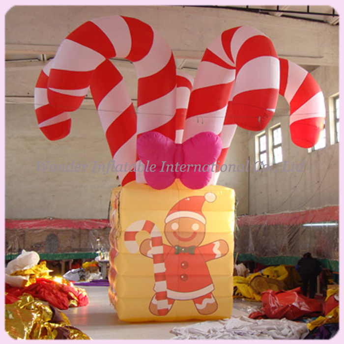 Airblown merry large christmas inflatables with candy canes decoration