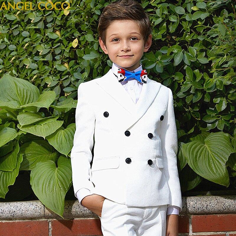 Детские Белые Формальные мальчиков Свадебные/костюм смокинг костюм с блейзером для мальчика Mariages/выполнять платье костюм для маленьких ма