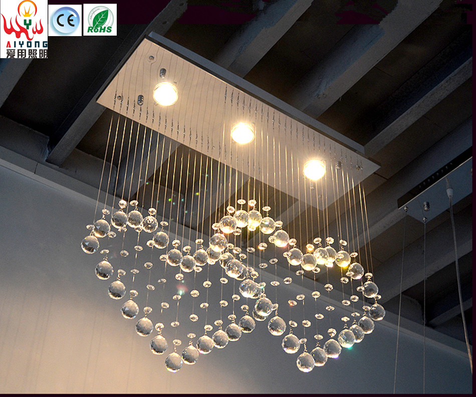 Modern crystal restaurant chandelier simple led bedroom crystal lamp heart shaped hanging lamp rectangular 3 bar lamp
