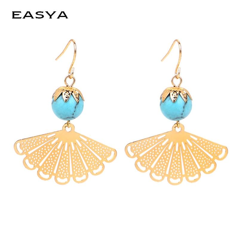 EASYA Green Natural Stone Pendientes Earrings For Women Bohemia Trendy Sector Alloy Oorbellen Tassel Dangel Drop Earrings