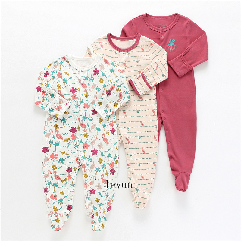 Baby Girl Romper Newborn Sleepsuit Flower Baby Rompers 2019 Infant Baby Clothes Long Sleeve Newborn Jumpsuits Baby Boy Pajamas