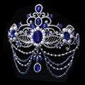Синий Кристалл невесты аксессуары для волос свадебные диадемы для Женщин горный хрусталь театрализованное корона глава ювелирные изделия украшения для волос
