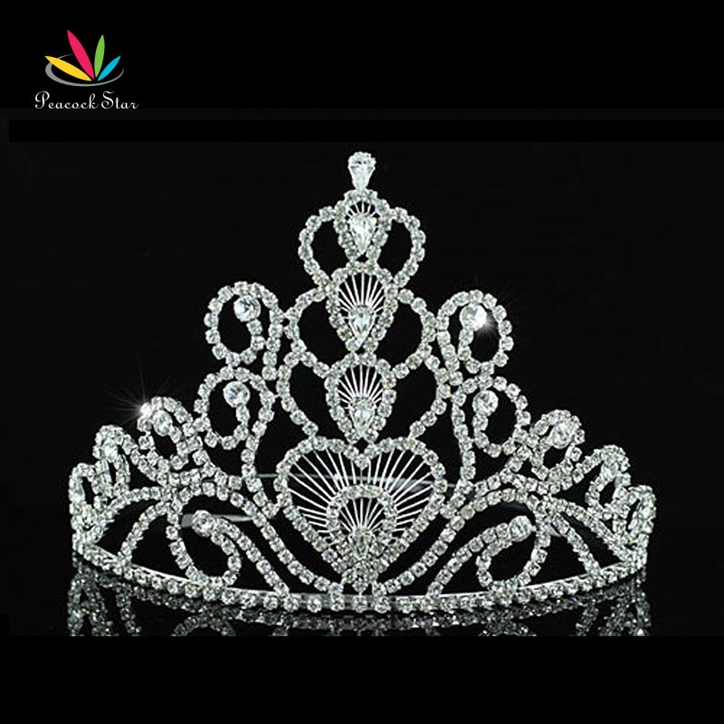 Peacock Star Bridal Pageant Beauty Contest Big Tall 6 15 cm Tiara Crown use Austrian Crystal