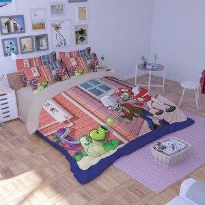 Image 2 - Novo 3d dos desenhos animados conjuntos de cama plantas vs zumbis vermelho anime impressão capa edredão cobertor fronha rainha completa rei tamanho cama se