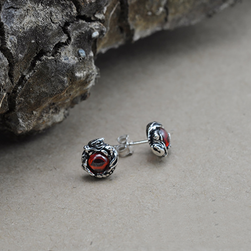 US $8.09 30% OFF|100% Pure 925 Sterling Silver Stud Earrings for Women Men  Dragon Earrings Vintage Skeleton Gothic With Garnet Natural Stone-in Stud  ...