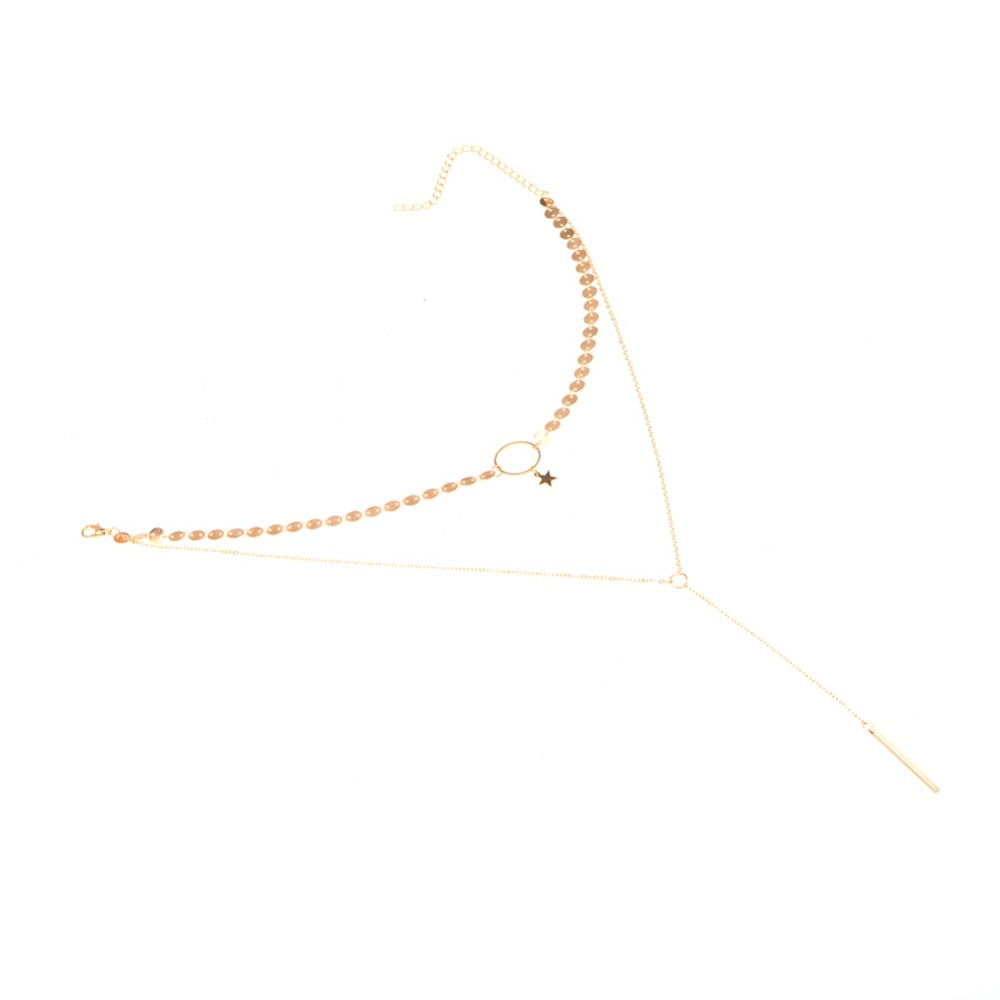 HTB1hCHXPpXXXXaxXXXXq6xXFXXXR 2 Layer Star Sequins Choker And Long Tassel Chain Necklace