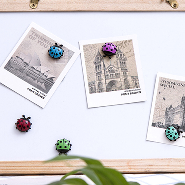 6Pcs Lovely Ladybug fridge magnets home decor decorative refrigerator Magnetic sticker Room Decoration Message paper Fixed paste 5