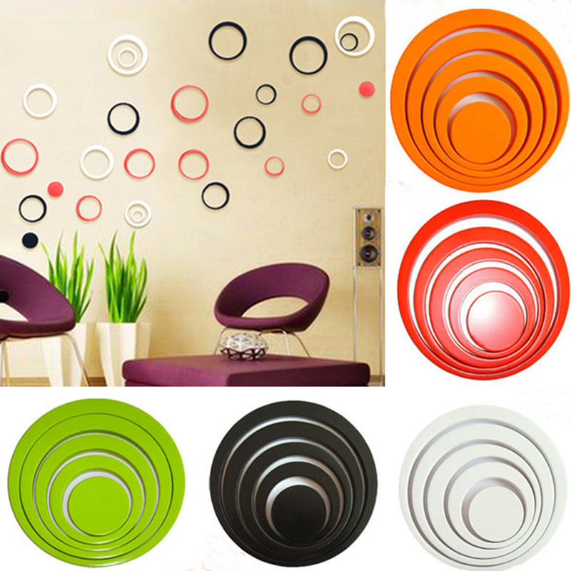 New Fashion One Set Home Decoration Circles 3D Removable Art TV Wall Stickers Multi-Colors Choice Room Decoration Decals