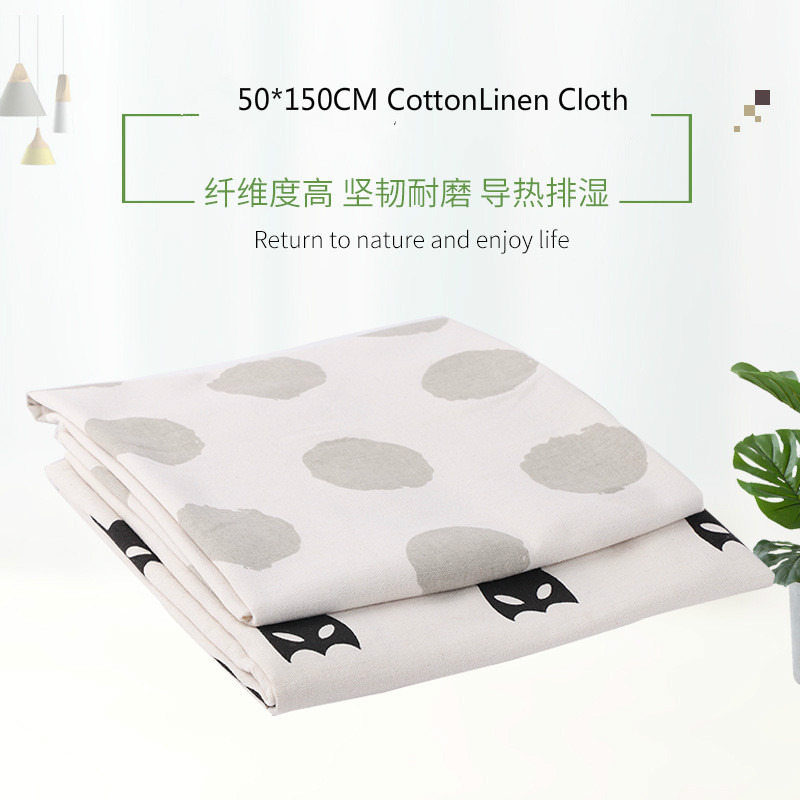 50X150CM cotton-linen canvas, polyester-cotton linen-like fabric, linen-printed grey linen background cloth