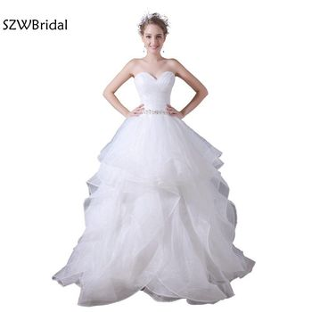 Robe de mariee New Arrival White ball gown Wedding dresses 2020 Organza Beaded Belt casamento trouwjurk Wedding gowns