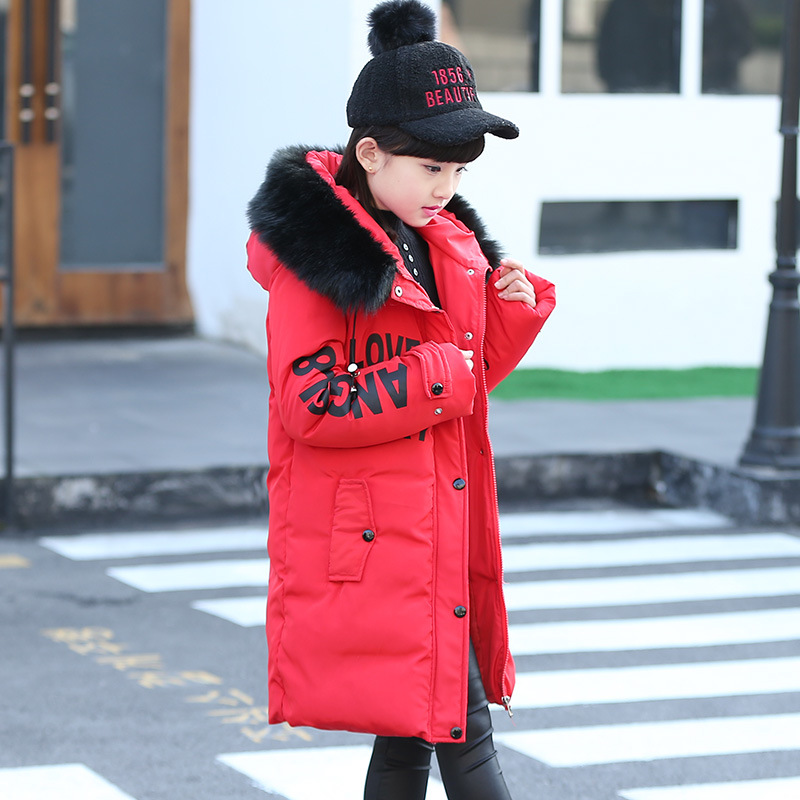 Girls Winter Coat Fur Collar Casual Outerwear Warm Long Thick Hooded Jacket For Girls Teenage Girls Kids Parkas Girl Clothing immdos children coat for girl winter wool outerwear kids long sleeve hooded warm baby clothing girls solid fashion jacket