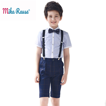 2019 Summer boys clothes sets kids clothes plaid boys clothing short-sleeve party gentleman dress student performance costume