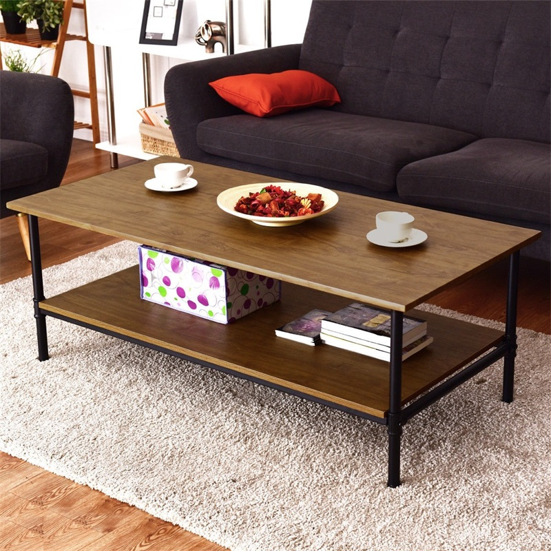 Rectangle Metal Frame Cocktail Coffee Table With Storage Shelf Two Layers High Quality MDF Top Balance Adjustable Pads HW57352