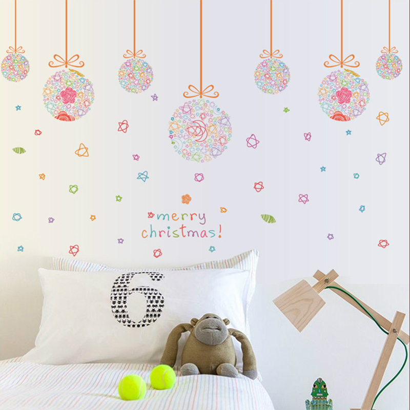 Diy Home Decor Hanging Balls Christmas Wall Stickers Removable