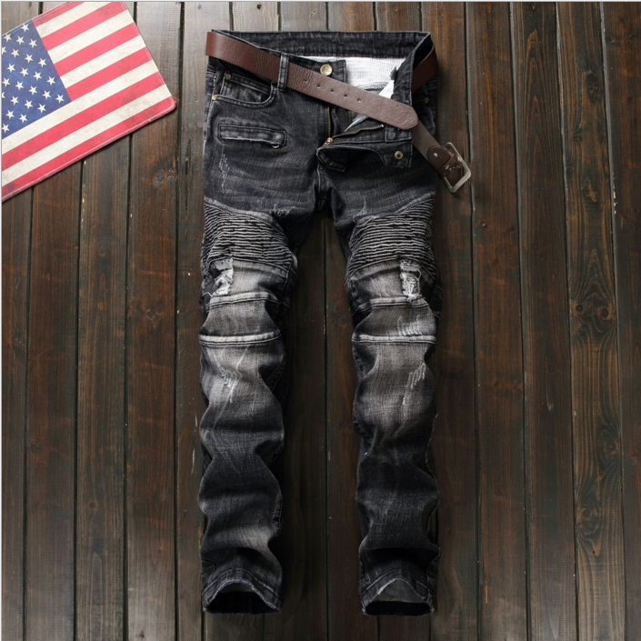 New Mens Jean Design Balm* Biker Jeans Slim Stretch Straight Denim Pants Jeans Ripped Elastic Skinny Motorcycle Men Jeans 550-9 2017 fashion patch jeans men slim skinny stretch jeans ripped denim blue pants new famous brand mens elastic jeans f701