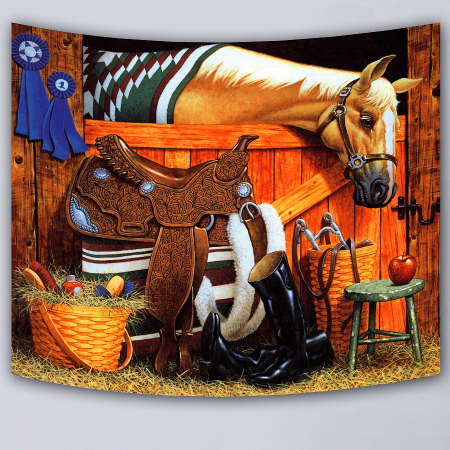 Wall tapestry fashion rectangle hanging carpet horse pattern HD print supersoft milk fiber tapestries 2017 new wall blanket in Tapestry from Home Garden