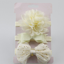 Headbands Hair-Accessories Lace Elastic Flower/bow Baby-Girl Children Mix-Style 3pcs/Set
