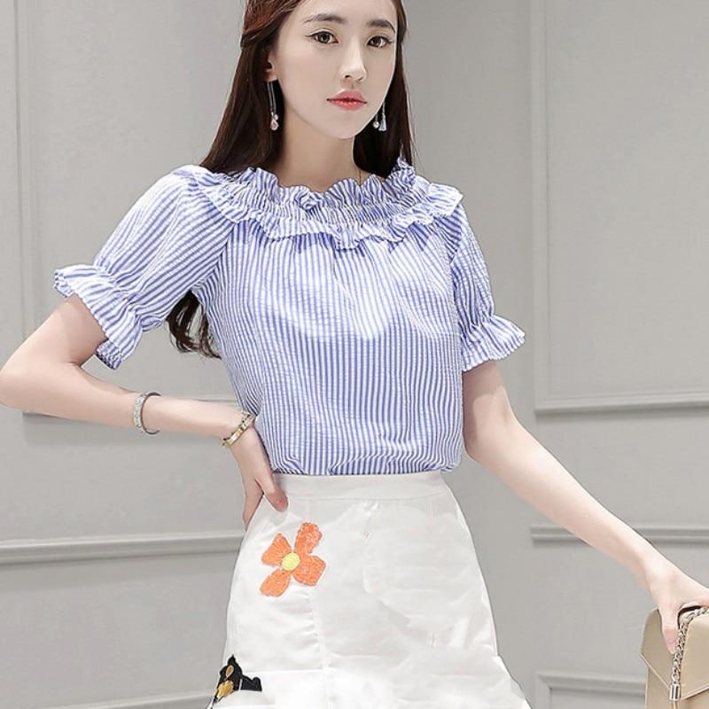 Sweet Thin Striped Slash Neck Ruffles   Shirts   Short Flare Sleeve Elegant Female   Blouse     Shirt   Summer Girl   Blouse   Women Short Top