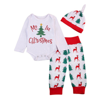 Newborn Baby New Years Clothing Set My 1st Christmas Letter Printed Bodysuits Xmas Reindeer Pants Beanies