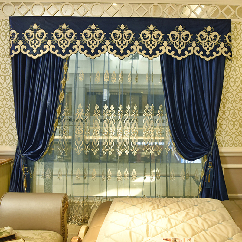 Custom curtains thick luxury European solid blue color French cotton flannel embroidery  blackout curtain tulle valance N189 window valance