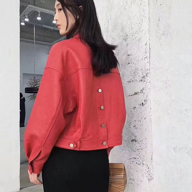 2019 New Fashion Women Casual Loose Soft Faux   Leather   Jackets Lady Boyfriend BF Free Style PU Batwing Sleeve Coats Streetwear
