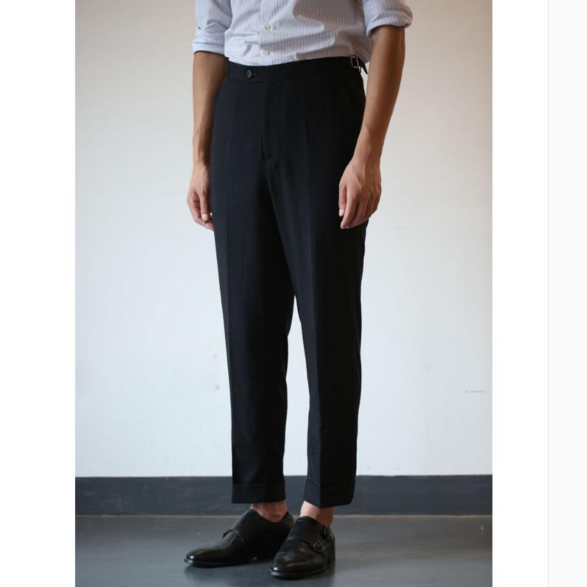 S 3xl 2020 новые мужские летние Стрейчевые удобные черные льняные брюки длиной до щиколотки тонкие повседневные брюки с окантовкой костюмы для