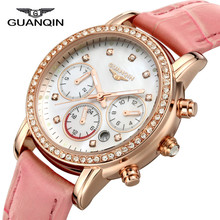GUANQIN GQ15001lady Chronograph 2017 fashion casual watch women Sapphire Glass waterproof Quartz female watches Pink Leatherband