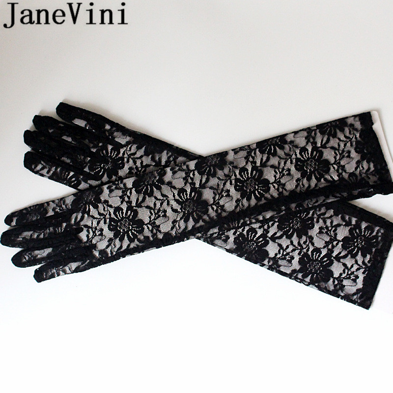 Купить с кэшбэком JaneVini White Lace Wedding Gloves 44CM Long Bride Bridal Party Elbow Gloves Full Finger Black Gloves for Women Wedding Dress