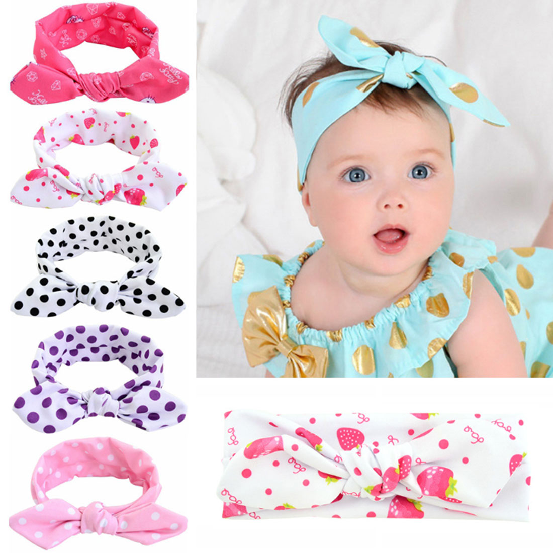 Baby Kids Girl Cute Print Strawberry Cat Dot Star Hair Band With Round Point Rabbit Ears Turban Bow Knot Hair Braider Gift