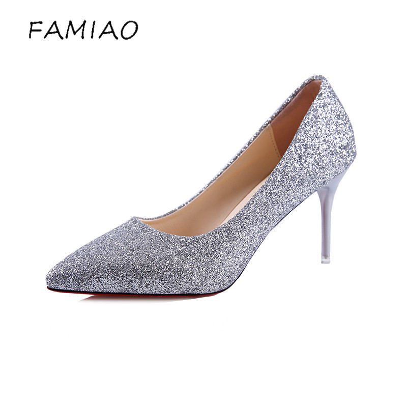 FAMIAO women pumps  pointed toe 2018 bling sexy pumps red bottom high heels chaussure femme talon party shoes Stiletto Elegant peacock crystals slingbacks 8cm chunky heels open toe summer shoe sandals chaussure femme de marque chaussure femme talon ouvert