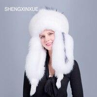 SHEGNXINXUE 2018 Новое поступление для женщин Шапки натуральным лисьим Мех животных шляпа для девочек