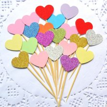 cake toppers glitter heart paper cards banner for Cupcake Wrapper Baking Cup birthday tea party wedding decor baby shower Wh(China)