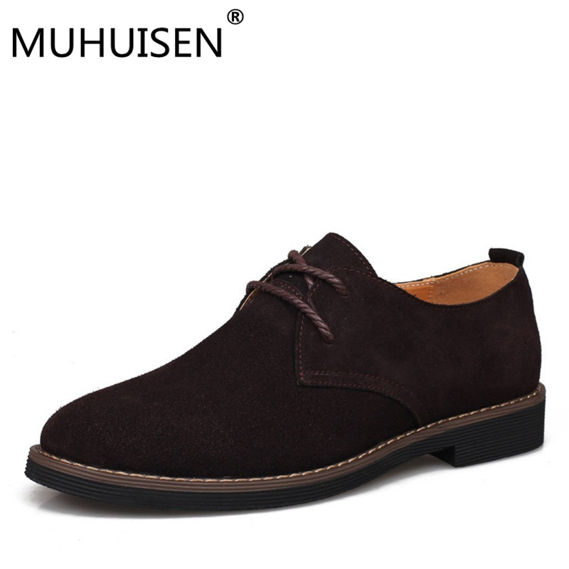 MUHUISEN Spring Autumn Men Oxfords Shoes Genuine Leather Casual Oxford shoes men mokassins Cow Suede Flats zapatos hombre mens genuine leather oxfords shoes for men breathable stitching dress shoe british style casual flats oxford pointed toe zapatos