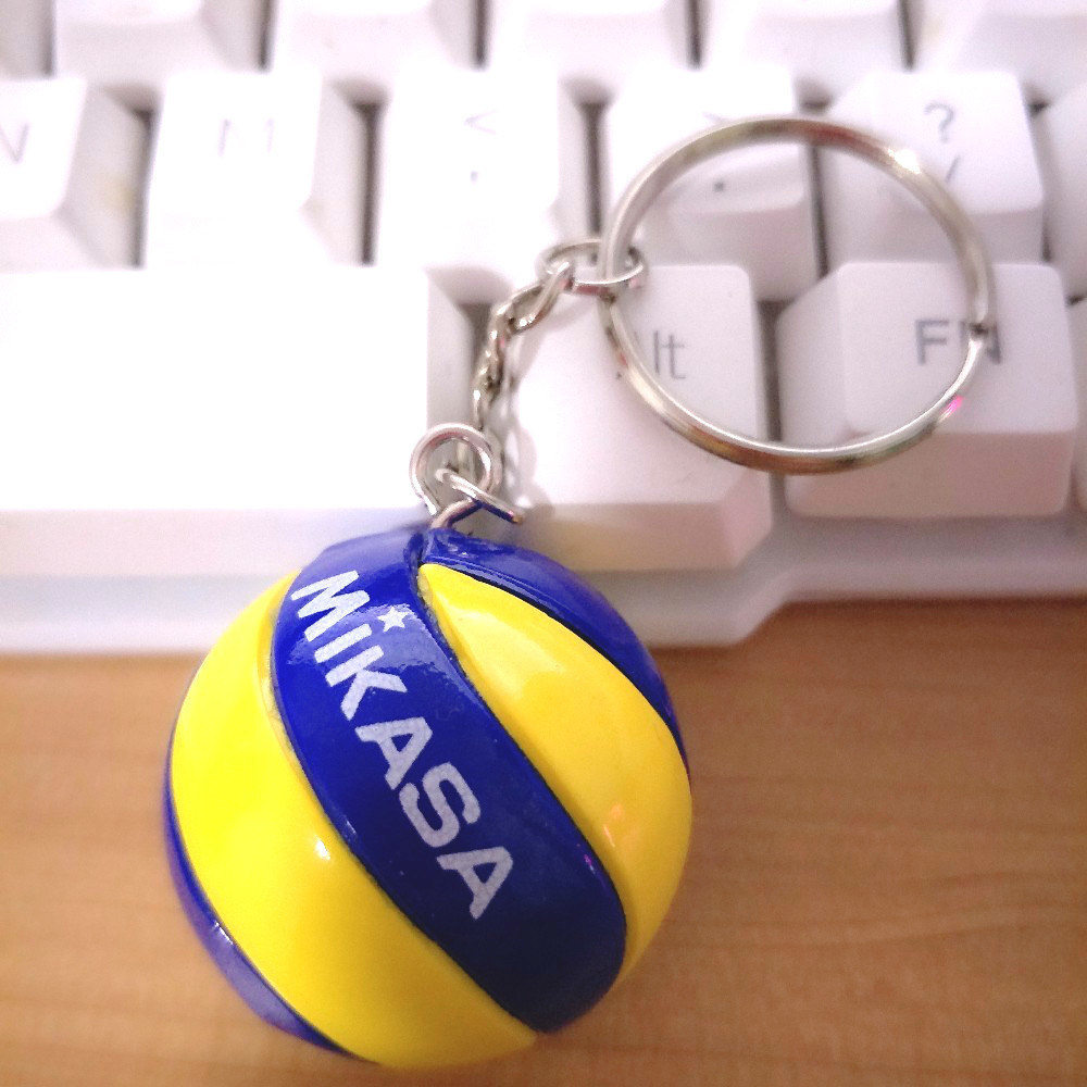 50PCS/lot Volleyball Keychain Ornaments Business PVC Of Volleyball Gifts Volleyball Football Beach Ball Key Chains Rings Sport