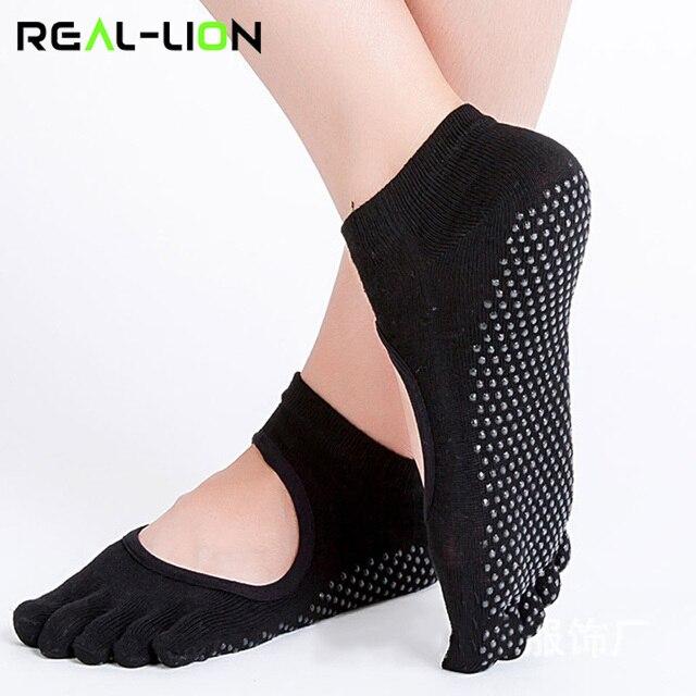 c6fc7ee07a3 Reallion Women Yoga Socks Anti-slip Five Fingers Backless Silicone Non-slip  5 Toe Socks Ballet Gym Fitness Sports Cotton Socks