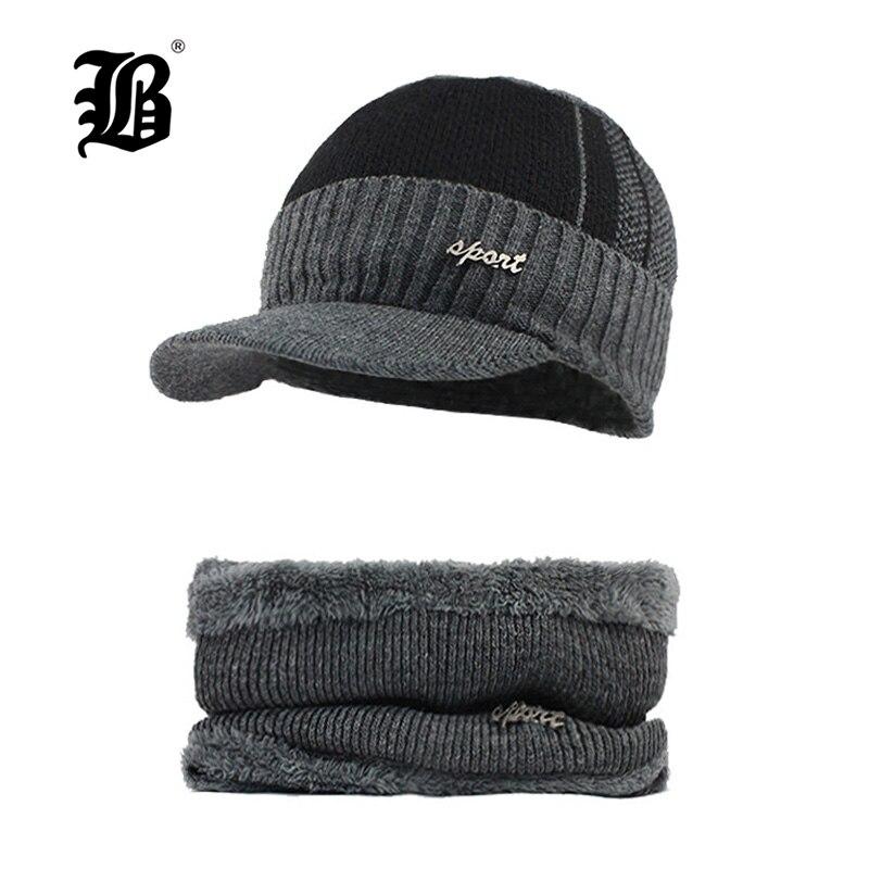 [FLB] Winter Beanies Men Scarf Knitted Hat Caps Mask Gorras Bonnet Warm Baggy Winter Hats For Men Women Skullies Beanies F18032