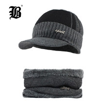 949169b6 [FLB] Winter Beanies Men Scarf Knitted Hat Caps Mask Gorras Bonnet Warm  Baggy Winter