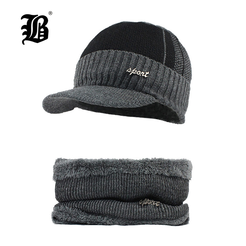 [FLB] Winter   Beanies   Men Scarf Knitted Hat Caps Mask Gorras Bonnet Warm Baggy Winter Hats For Men Women   Skullies     Beanies   F18032